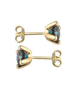 Aurora Patina Gouden oorknopjes blauwtopaas London Blue