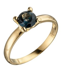Aurora Patina Gouden ring blauwtopaas London Blue