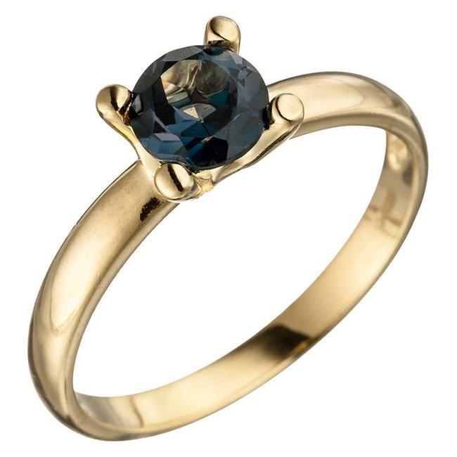 Gold ring (585) blue topaz London Blue