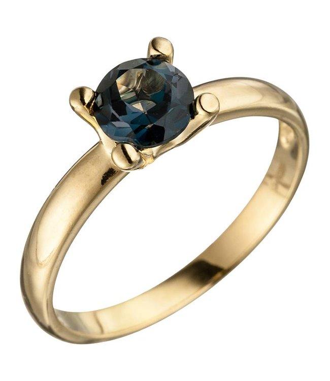Aurora Patina Gouden ring (585) blauwtopaas London Blue