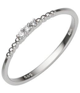 Aurora Patina Ring in witgoud met 3 briljanten