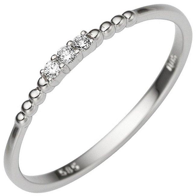Dames ring in 585 witgoud met 3 briljanten 0,05 ct
