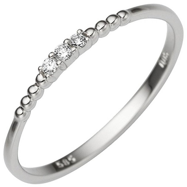 Womens ring in 585 white gold with 3 brilliant cut diamonds 0,05 ct