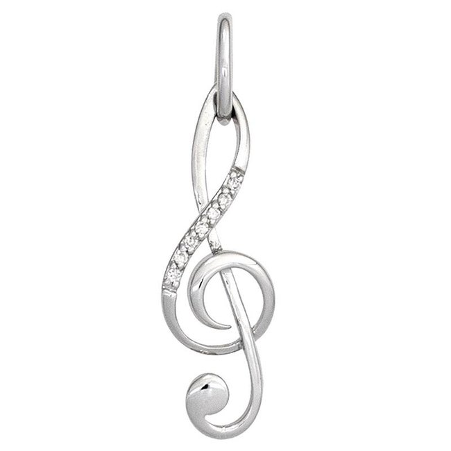 Aurora Patina Music key pendant in white gold 7 diamonds