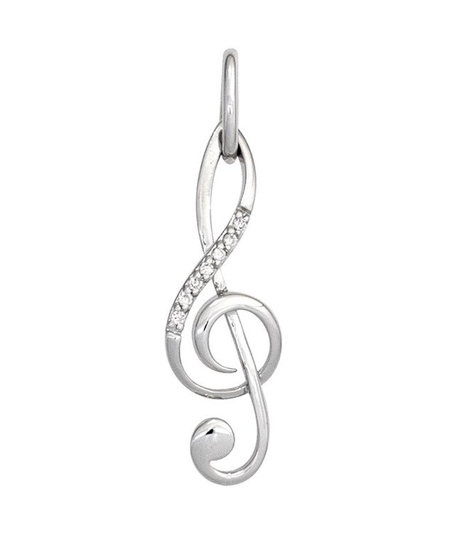 Aurora Patina Music key pendant in white gold (585) with 7 diamonds