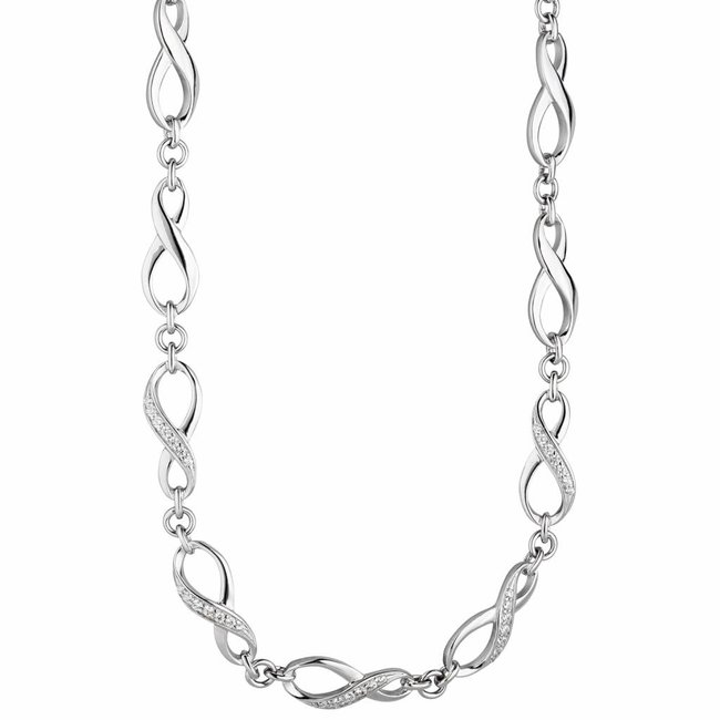 Silver necklace Infinity zirconia 925 sterling silver 48 cm
