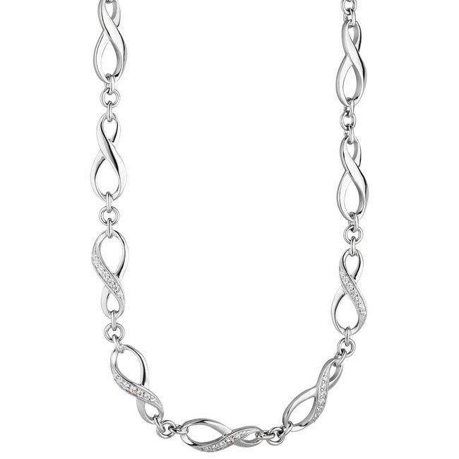 Zilveren halsketting Infinity zirkonia 925 sterling zilver 48 cm