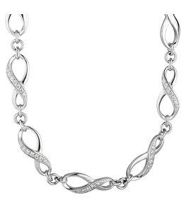 Aurora Patina Zilveren halsketting Infinity zirkonia 48 cm