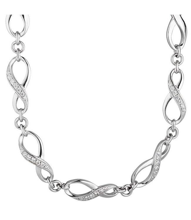 JOBO Silver necklace Infinity zirconia 925 sterling silver 48 cm