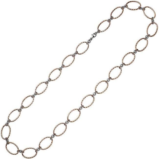 Aurora Patina Roodgoud vergulde zilveren halsketting 80 cm