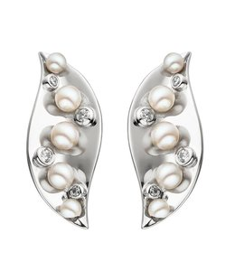 JOBO Silver ear studs with Akoya pearls and zirconia