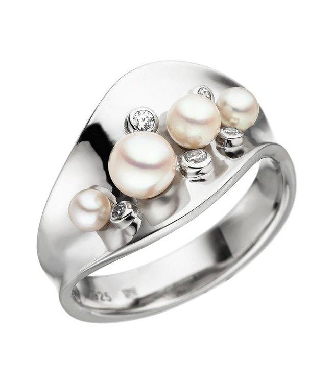 JOBO Sterling zilveren ring met Akoya parels en zirkonia mt. 50