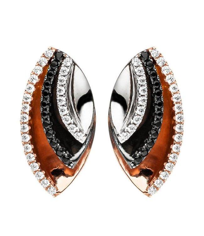 Aurora Patina Zilveren oorstekers Tricolore met zirkonia in zilver, zwart en roodgoud - Copy