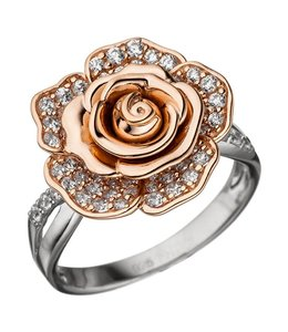 JOBO Silver ring Rose red gold plated 76 zirconias