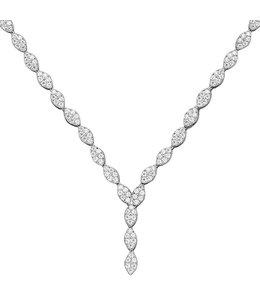 Aurora Patina Zilveren halsketting met 234 zirkonia's 44 cm