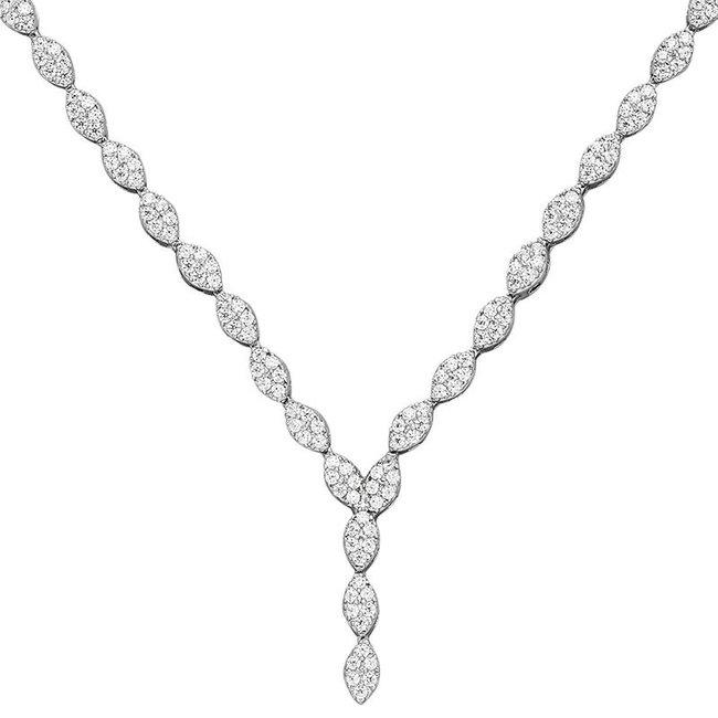 Zilveren halsketting met 234 zirkonia's 44 cm