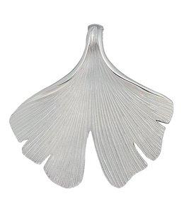 Aurora Patina Silberkettenanhänger Ginkgo mattiert
