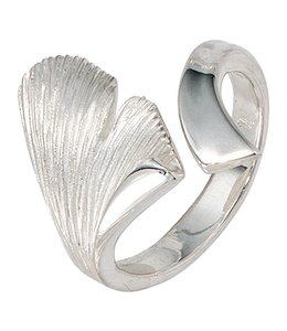 Aurora Patina Zilveren ring Ginkgo deels gematteerd