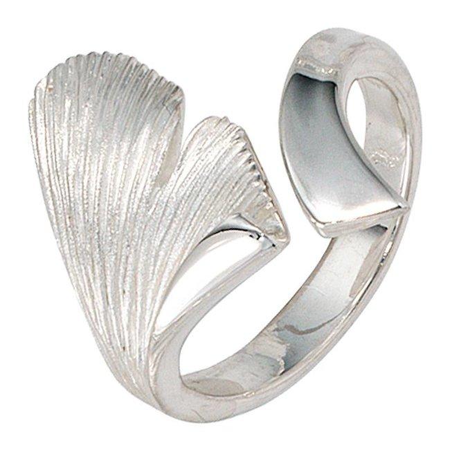 Zilveren ring  Ginkgo deels gematteerd (925)