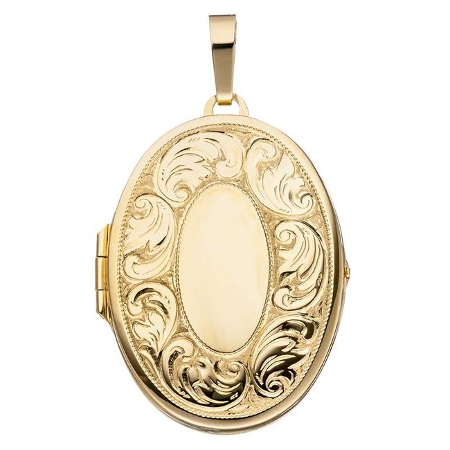 Gold plated silver locket with engravings for 2 photos
