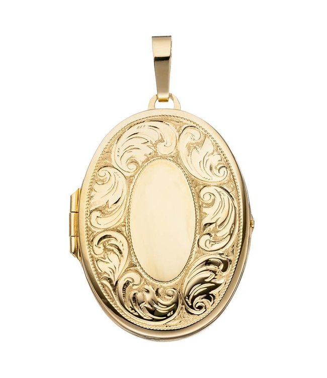 JOBO Gold plated silver locket with engravings for 2 photos