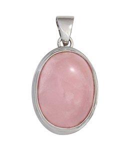 Aurora Patina Silver pendant oval rose quartz