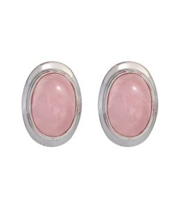 JOBO Silver ear studs oval rose quartz