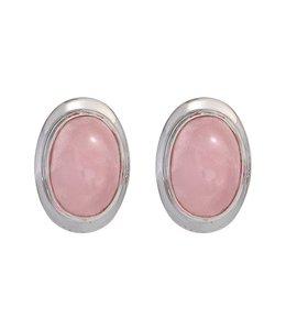 JOBO Zilveren oorstekers ovale rozenkwarts
