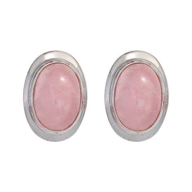 Zilveren oorstekers (925) met ovale cabochon rozenkwarts