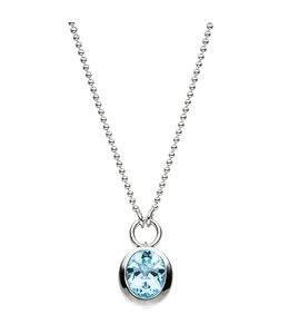 JOBO Silver necklace blue topaz light blue 45 cm
