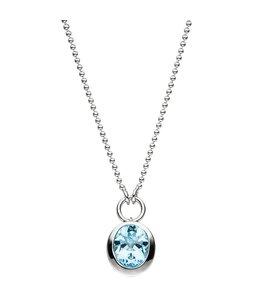 JOBO Zilveren halsketting blauwtopaas lichtblauw 45 cm