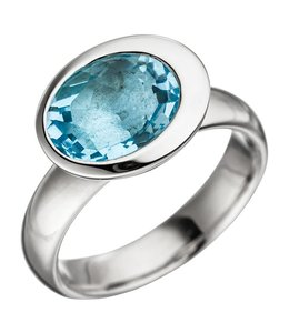 JOBO Silver ring with blue topaz light blue