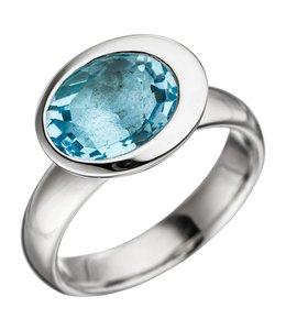 JOBO Zilveren ring met blauwtopaas lichtblauw