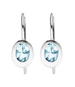 JOBO Silver earrings with blue topaz light blue