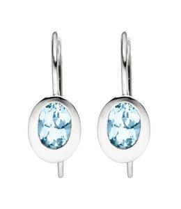 JOBO Zilveren oorbellen met blauwtopaas lichtblauw