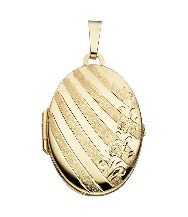 JOBO Gold locket (333) oval with flowers for 2 photos