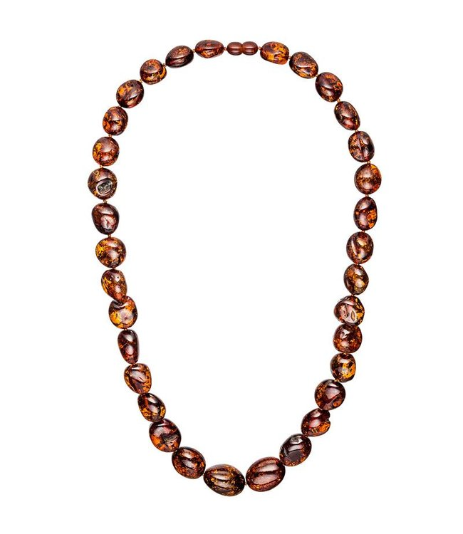 JOBO Amber necklace with stones in small to large size 60 cm