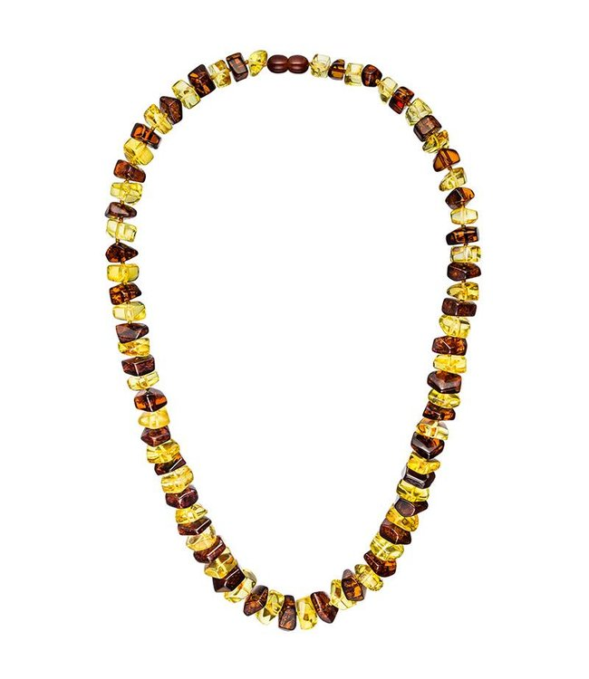Aurora Patina Bernsteinkette mit Verlauf in 2 Farben 58 cm