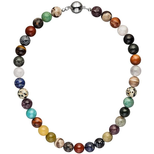 Necklace with gemstones in various colors