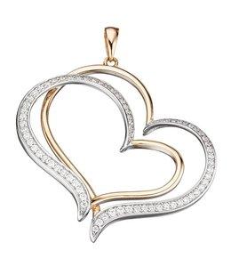 Aurora Patina Silver pendant Hearts with zirconia
