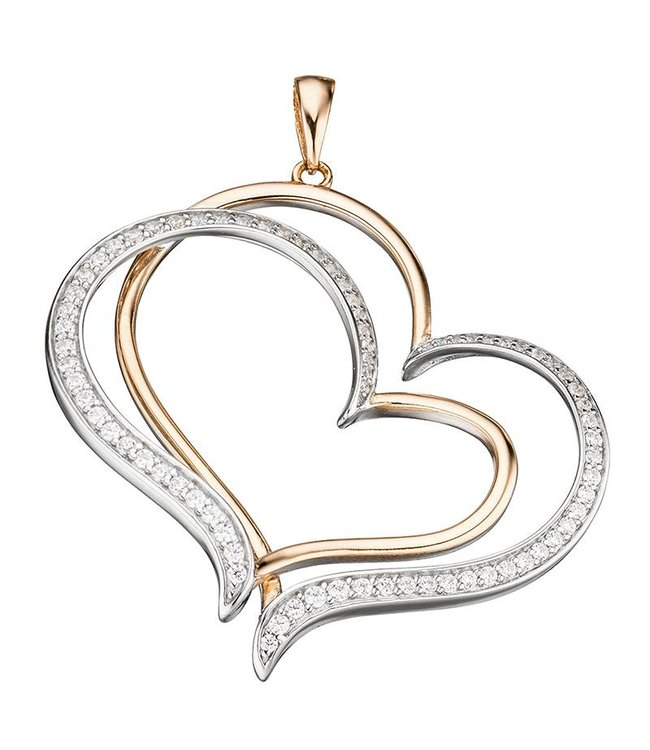 JOBO Sterling silver pendant (925) Hearts with zirconia