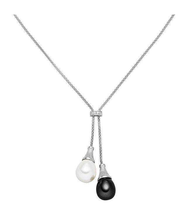 Aurora Patina Silver necklace with zirconia and synthetic pearl 47 cm