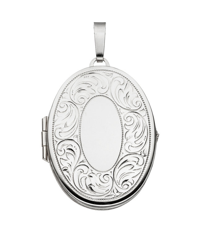 JOBO Sterling silver locket with  vintage decorations for 2 photos