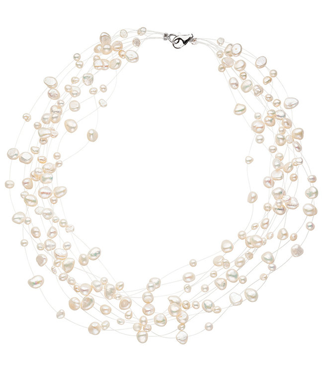 JOBO Silver statement necklace with baroque freshwater pearls 45 cm