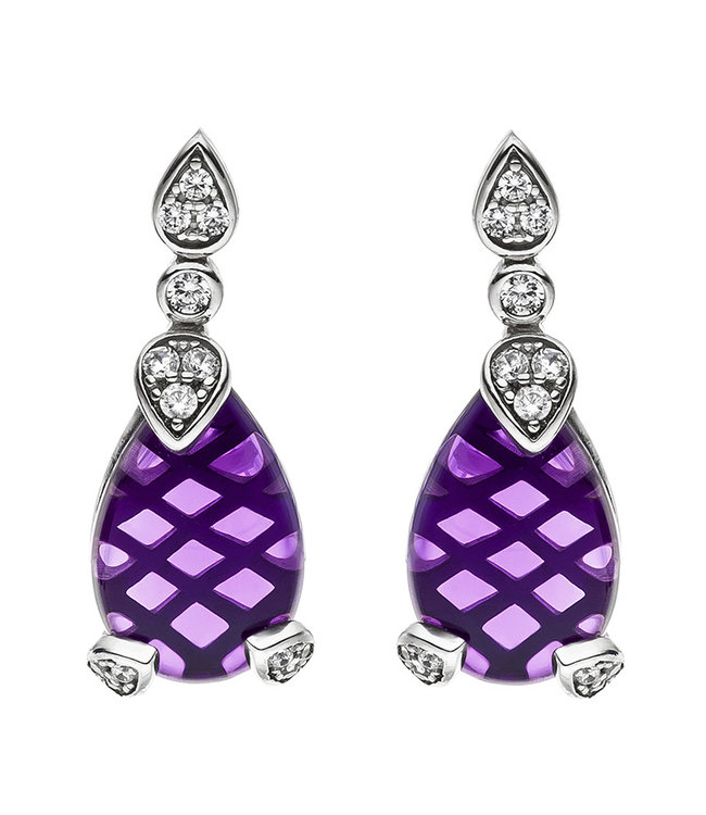 JOBO Silver ear studs (925) with amethyst droplet and zirconia