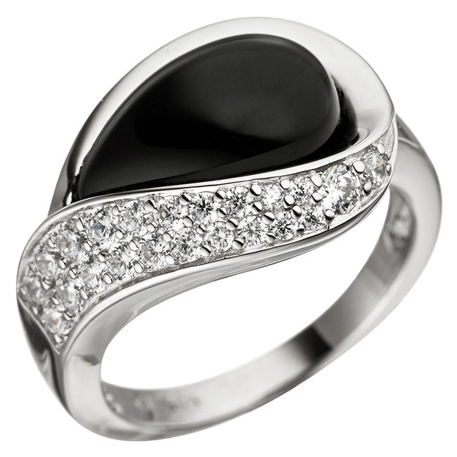 Silver ring (925) with onyx droplet and zirconia
