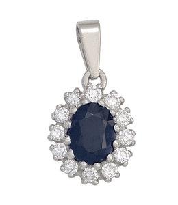 JOBO Silver pendant blue sapphire and zirconia