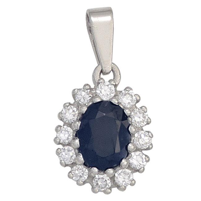 Aurora Patina Silver pendant blue sapphire and zirconia
