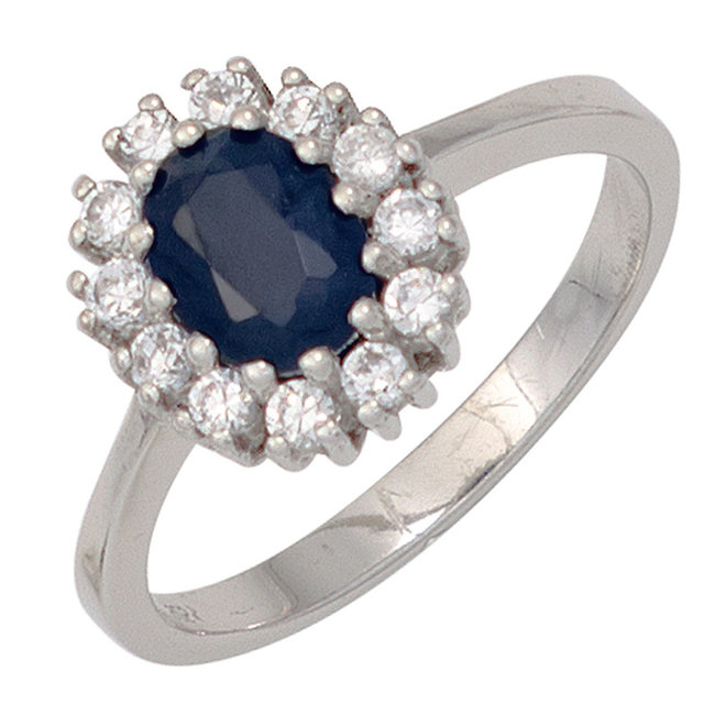 Zilveren ring (925) met blauwe saffier en 12 zirkonia's