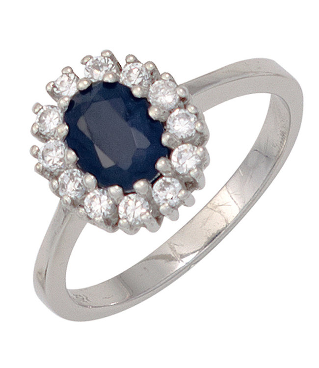 Aurora Patina Silver ring (925) with blue sapphire and 12 zirconias